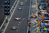 Verizon IndyCar Series<br /> Indianapolis 500 Race<br /> Indianapolis Motor Speedway, Indianapolis, IN USA<br /> Sunday 28 May 2017<br /> Fernando Alonso, McLaren-Honda-Andretti Honda makes his first IndyCar pit stop as Ed Carpenter, Ed Carpenter Racing Chevrolet, Pippa Mann, Dale Coyne Racing Honda and Takuma Sato, Andretti Autosport Honda speed by on the pit lane.<br /> World Copyright: F. Peirce Williams<br /> LAT Images