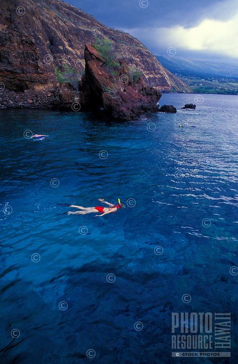 Snorkeling in Kealakekua bay, South of Kona, Big island of  Hawaii