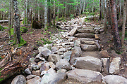 July 2016 - Newly built stone steps along the Mount Tecumseh Trail in Waterville Valley, New Hampshire during the summer months. Trail stewardship groups promote that minimal stonework should be done along trails. And that stonework should look natural and blend in with the surroundings.