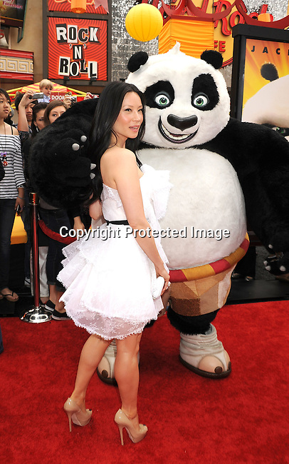 "HOLLYWOOD, {CA} -MAY 22: Lucy Liu arrives at the Los Angeles premiere of ""Kung Fu Panda 2"" held at Grauman's Chinese Theatre on May 22, 2011 in Hollywood, California."