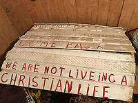 White corrugated plastic sign white- with red lettering- text-we are not living a Christian life-Appx 36 in by 32 in tall<br /> THIS IS PART OF OUR COLLECTION OF MARGARET'S GROCERY AND REV. H.D. DENNIS - ART WORKS in Mississippi Folk Art Foundations Collection <br /> <br /> Ms. Altman is the Founder and Director of the Mississippi Folk Art Foundation a non profit, that is dedicated to preserving Margaret's Grocery. A visionary outdoor folk environment in Vicksburg Mississippi.<br />  to see some of the collection documented by William Arnett in his book Souls Grown Deep volume 2 please see see link below.<br /> <br /> http://www.soulsgrowndeep.org/artist/rev-harmon-d-dennis<br /> <br /> <br /> https://www.gofundme.com/SaveMargaretsGrocery?lang=en-US