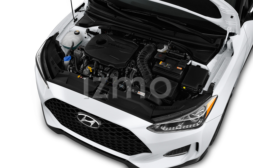 Car stock 2019 Hyundai Veloster Turbo Ultimate 5 Door Hatchback engine high angle detail view