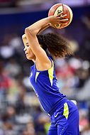 Washington, DC - August 12, 2018: Dallas Wings All-Star guard Skylar Diggins-Smith (4) passes the ball cross court during game between the Washington Mystics and the Dallas Wings at the Capital One Arena in Washington, DC. (Photo by Phil Peters/Media Images International)