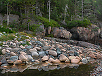 Acadia National Park, Maine: Rounded boulders, rocks and pool at Hunter's Beach