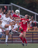 Boston College forward Alaina Beyar (17) and Boston University forward Taylor Krebs (17) battle for the ball. After 2 complete overtime periods, Boston College tied Boston University, 1-1, after 2 overtime periods at Newton Soccer Field, August 19, 2011.