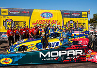 Aug 18, 2019; Brainerd, MN, USA; NHRA top fuel driver Leah Pritchett (left) and funny car driver Ron Capps celebrate after winning the Lucas Oil Nationals at Brainerd International Raceway. Mandatory Credit: Mark J. Rebilas-USA TODAY Sports