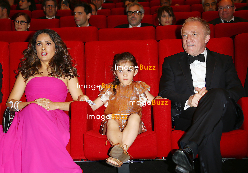 Salma Hayek Pinault, husband Fran&ccedil;ois-Henri Pinault and daughter Valentina Paloma attend the &quot;The Prophet&quot; screening in Cannes during the 67th Cannes Film Festival.<br /> France, Cannes, May 17, 2014.