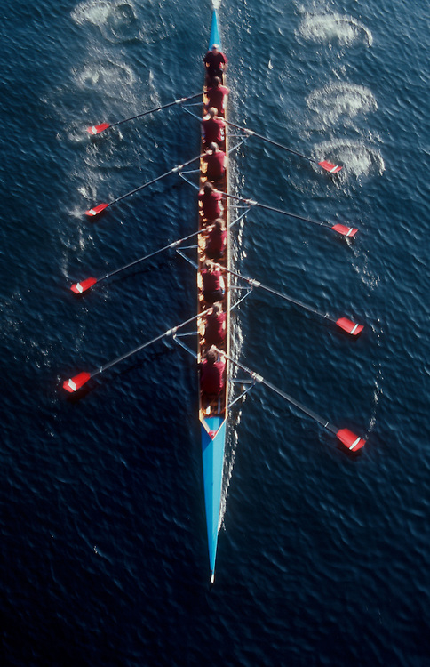 Rowing, eight oared racing shell with puddles (oar wash) from above, Seattle, Lake Union, Pacific Northwest, Washington State, United States, Lake Washington Rowing Club, .