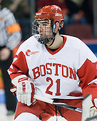 Sean Escobedo (BU - 21) - The Boston University Terriers defeated the Merrimack College Warriors 6-4 on Saturday, November 14, 2009, at Agganis Arena in Boston, Massachusetts.