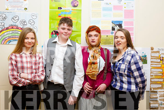 Back stage before the start of the  Castleisland Presentation Schools Talent show last Thursday, l to r, Siobhan Brosnan (Currow), Luke Regan (Castleisland), Sean O'Sullivan (Cordal) and Cait O'Mahony (Currow)