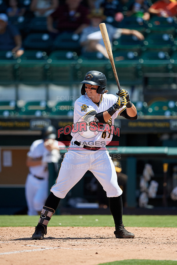 Bradenton Marauders Mason Martin (47) at bat during a Florida State League game against the St. Lucie Mets on July 28, 2019 at LECOM Park in Bradenton, Florida.  Bradenton defeated St. Lucie 7-3.  (Mike Janes/Four Seam Images)