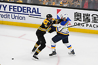 June 12, 2019: Boston Bruins defenseman Zdeno Chara (33) knocks St. Louis Blues left wing Pat Maroon (7) off the puck during game 7 of the NHL Stanley Cup Finals between the St Louis Blues and the Boston Bruins held at TD Garden, in Boston, Mass.  The Saint Louis Blues defeat the Boston Bruins 4-1 in game 7 to win the 2019 Stanley Cup Championship.  Eric Canha/CSM.