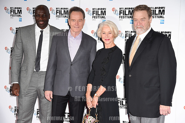 Adewale Akinnuoye-Agbaje, Bryan Cranston, Dame Helen Mirren &amp; John Goodman at the photocall for &quot;Trumbo&quot; at the Corinthia Hotel, London.<br /> October 8, 2015  London, UK<br /> Picture: Steve Vas / Featureflash