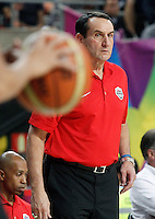 USA's coach Mike Krzyzewski during 2014 FIBA Basketball World Cup Quarter-Finals match.September 9,2014.(ALTERPHOTOS/Acero)