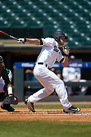 Jonathan Pryor (11) of the Wake Forest Demon Deacons follows through on his swing against the Miami Hurricanes in Game Nine of the 2017 ACC Baseball Championship at Louisville Slugger Field on May 26, 2017 in Louisville, Kentucky. The Hurricanes defeated the Demon Deacons 5-2. (Brian Westerholt/Four Seam Images)