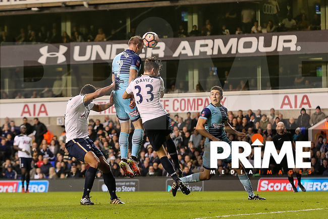 Garry Thompson of Wycombe Wanderers (2nd left) scores his team's third goal of the game to make the score 2-3 during the FA Cup 4th round match between Tottenham Hotspur and Wycombe Wanderers at White Hart Lane, London, England on 28 January 2017. Photo by PRiME Media Images / David Horn.