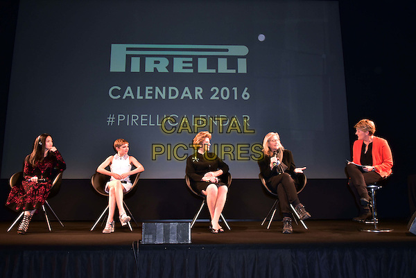LONDON, ENGLAND - NOVEMBER 30: Yao Chen, Tavi Gevinson, Agnes Gund, Annie Leibovitz, Clare Balding at a photocall for the launch of the 2016 Pirelli calendar in London on November 30, 2015<br /> CAP/JOR<br /> &copy;JOR/Capital Pictures
