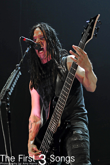 Bassist John Moyer of Disturbed performs at The Uproar Festival at Nationwide Arena in Columbus, OH on August 24, 2010.