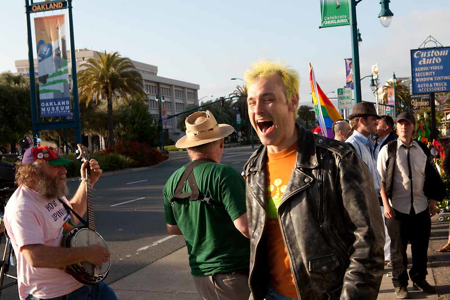 "Members of ""The First Church of the Last Laugh"" protest at the Family Radio Rapture protest in Oakland, California on May 21, 2011."