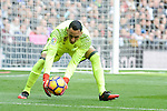 Real Madrid's  Keylor Navas during La Liga match between Real Madrid and Malaga CF at Santiago Bernabeu Stadium in Madrid, Spain. January 21, 2017. (ALTERPHOTOS/BorjaB.Hojas)