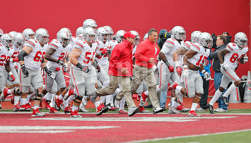 The Buckeyes enter Memorial Stadium for their game against the Hoosiers on October 3, 2015. (Chris Russell/Dispatch Photo)