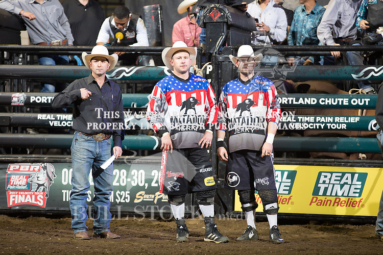 Bullfighters, Cody Greer and Nate Jestes in Portland Real Time Pain Relief Velocity Tour PBR -  Photo by Andre Silva