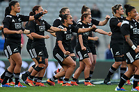 The Black Ferns perform a haka before the International Women's Rugby match between the New Zealand All Blacks and Australia Wallabies at Eden Park in Auckland, New Zealand on Saturday, 17 August 2019. Photo: Simon Watts / lintottphoto.co.nz