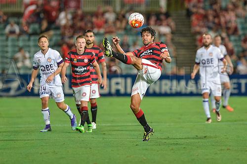 26.02.2016. Pirtek Stadium, Parramatta, Australia. Hyundai A-League. Western Sydney Wanderers versus Perth Glory. Wanderers defender Nikolai Topor-Stanley clears the ball. The Wanderers won 2-1.