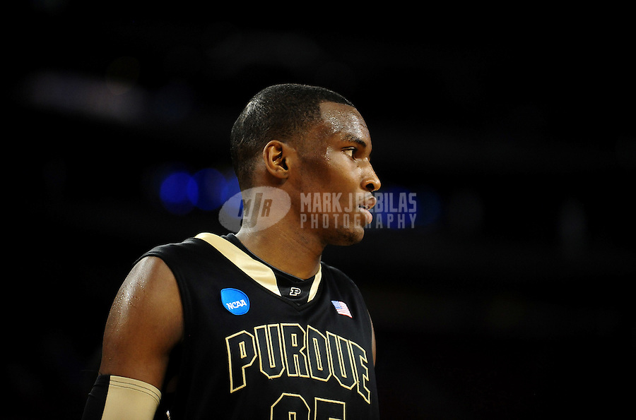 Mar 26, 2010; Houston, TX, USA; Purdue Boilermakers forward (25) JaJuan Johnson against the Duke Blue Devils during the during the semifinals of the south regional in the 2010 NCAA mens basketball tournament at Reliant Stadium. Duke defeated Purdue 70-57. Mandatory Credit: Mark J. Rebilas-