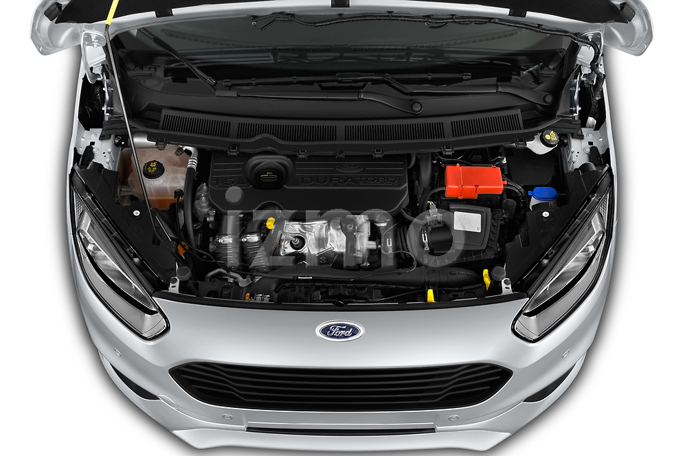 Car stock 2018 Ford transit courier Limited 4 Door Car Van engine high angle detail view