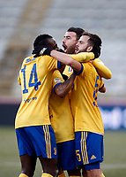 Calcio, Serie A: Bologna vs Juventus, stadio Renato D'Allara, Bologna,17 dicembre 2017.<br /> Juventus' Miralem Pjanic (r) celebrates after scoring with his teammates Douglas Costa (c) and Andrea Barzagli (back) and Blaise Matuidi (l) during the Italian Serie A football match between Bologna and Juventus at Bologna's Renato D'Allara stadium, December 17, 2017.<br /> UPDATE IMAGES PRESS/Isabella Bonotto