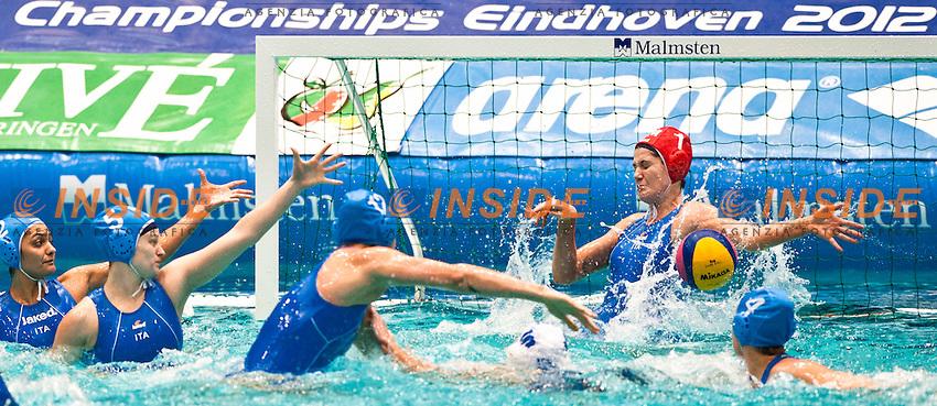 Elena Gigli Portiere.Setterosa Italia Campione d'Europa.Eindhoven , Netherlands (NED) 28/1/2012.LEN European  Water Polo Championships 2012.Day 13 - Women.Greece  (White) - Italia  (Blue).Photo Insidefoto / Giorgio Scala .