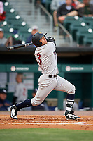Scranton/Wilkes-Barre RailRiders second baseman L.J. Mazzilli (3) follows through on a swing during a game against the Buffalo Bisons on May 18, 2018 at Coca-Cola Field in Buffalo, New York.  Buffalo defeated Scranton 5-1.  (Mike Janes/Four Seam Images)