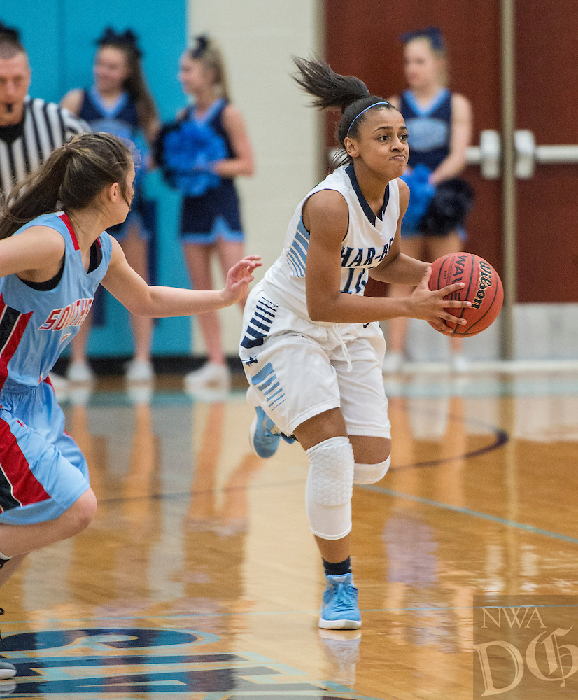 NWA Democrat-Gazette/ANTHONY REYES &bull; @NWATONYR<br /> Krislyn Smith, Har-Ber sophomore, drives up the court  against Fort Smith Southside Friday, Feb. 19, 2016 at Wildcat Arean in Springdale. The Lady Wildcats won 68-39.