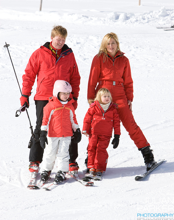 Crown Prince Willem Alexander, and Crown Princess Maxima of Holland with Daughters, Princess Alexia, Princess Catharina Amalia  attend a Photocall with Members of The Dutch Royal Family during their Winter Ski Holiday in Lech Austria