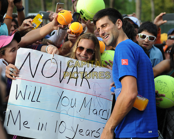 KEY BISCAYNE, FL - MARCH 28: Novak Djokovic is sighted practicing during the Miami Open at Crandon Park Tennis Center on March 28, 2015 in Key Biscayne, Florida. <br /> CAP/MPI/MPI04<br /> &copy;MPI04/MPI/Capital Pictures