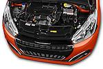 Car Stock 2015 Peugeot 208 Allure 5 Door Hatchback Engine  high angle detail view