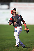 Batavia Muckdogs shortstop Samuel Castro (25) during the first game of a doubleheader against the Auburn Doubledays on September 4, 2016 at Dwyer Stadium in Batavia, New York.  Batavia defeated Auburn 1-0 in a continuation of a game started on August 13. (Mike Janes/Four Seam Images)
