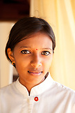MAURITIUS, Chemin Grenier, a young woman employee in the restaurant Pebbles at Hotel Shanti Maurice