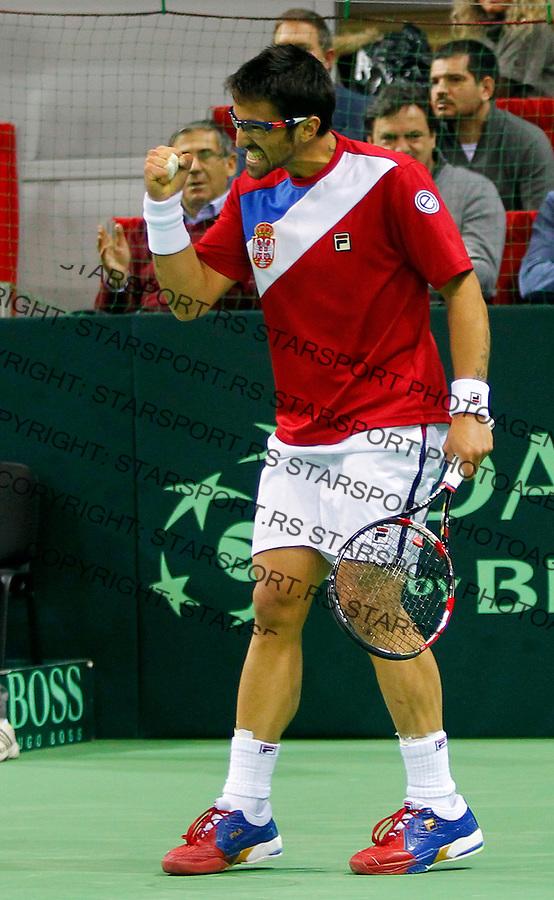 Davis Cup, World Group, 1st Round, Serbia - Sweden, Janko Tipsarevic (SRB) - Filip Prpic (SWE), Nis, Serbia, Friday, February 10, 2011.  (photo: Pedja Milosavljevic / thepedja@gmail.com / +381641260959)