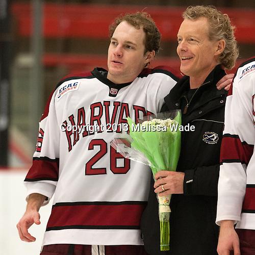 Luke Greiner (Harvard - 26), Joe Greiner - The Class of 2013 was celebrated following the final Harvard Crimson home game of the season on Saturday, March 2, 2013, at Bright Hockey Center in Cambridge, Massachusetts.