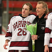 Luke Greiner (Harvard - 26), Joe Greiner - The Class of 2013 was celebrated following the final Harvard Crimson home game of the season on Saturday, March 2, 2013, at Bright Hockey Center in Cambridge, Massachusetts.