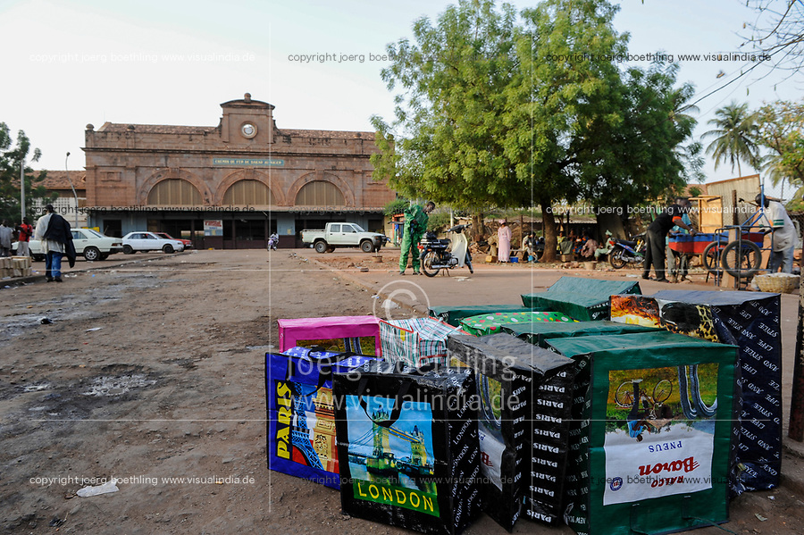 MALI, Bamako , old railway station from french colonial time, railway line Dakar–Niger connecting Dakar in Senegal with Koulikoro in Mali, plastic bags with european destinations like London, Paris