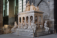 Funerary monument of Louis XII (1462 - 1515) and Anne of Brittany (1477 - 1514), 1516 - 1531, Marble of Carrara, by Giovani di Giusto Betti, Abbey church of Saint Denis, Seine Saint Denis, France. Picture by Manuel Cohen