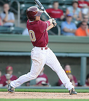 Third baseman Garrett Koster (10) of the Elon College Phoenix in a game against the Clemson Tigers on March 21, 2012, at Fluor Field at the West End in Greenville, South Carolina. Clemson won 4-2. (Tom Priddy/Four Seam Images)