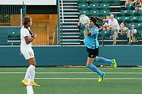 Rochester, NY - Saturday July 23, 2016: Western New York Flash goalkeeper Katelyn Rowland (0), FC Kansas City midfielder Frances Silva (11) during a regular season National Women's Soccer League (NWSL) match between the Western New York Flash and FC Kansas City at Rochester Rhinos Stadium.