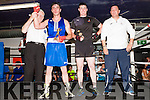 Abbeyfeale Boxing Club held its 1st. Tournament last Sunday in their club house Referee Tommy Lyons declares Anthony Walsh from Castleisland the winner of the fight, also in photo is his opponent Michéal Roche & club treasurer  & coach Noel Healy.