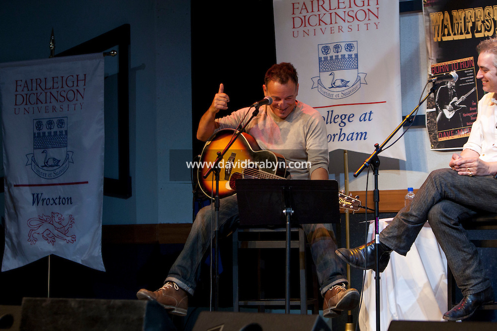 Rocker Bruce Springsteen (L) and WAMFEST artist in residence and host John Wesley Harding, talk and perform at the 2010 literary and music festival WAMFest at Fairleigh Dickinson University, Madison, NJ, USA, 6 May 2010.