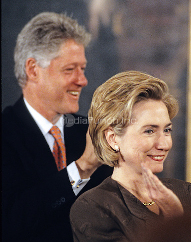 United States President Bill Clinton and first lady Hillary Rodham Clinton host an event in the East Room of the White House advocating expanded use of the internet to place adoptions in Washington, D.C. on November 24, 1998. <br /> Credit: Ron Sachs / CNP/MediaPunch