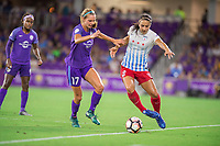 Orlando, FL - Saturday August 05, 2017: Dani Weatherholt, Jennifer Hoy during a regular season National Women's Soccer League (NWSL) match between the Orlando Pride and the Chicago Red Stars at Orlando City Stadium.